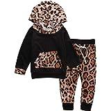 Kfnire [Conjunto de 2 piezas] Sudadera con capucha de leopardo + Pantalones Para Bebé
