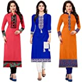 PRAMUKH FASHION Women's Cotton A-Line Kurti(Pack of 3) (1002.1003.1030_Multicolored_Free Size)