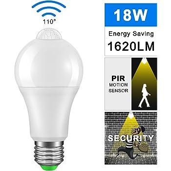 Bombilla Con Sensor de Movimiento 18W, Frontoppy Led E27 Blanco cálido 3000K Luz PIR Sensor,Auto encendido/apagado Luces nocturnas para Escaleras, Garaje, ...