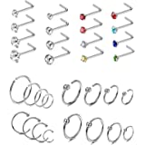 CASSIECA 32PCS Piercing di Naso Anelli in Acciaio Inossidabile Piercing for Donna CZ Palline Septum Nostril Piercing Kit Body