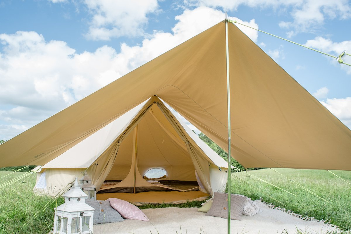 360 x 240cm AWNING 100% Cotton Canvas Suitable for 3m 4m 5m 6m Bell Tent Available in Sand or Grey 1