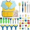 Surplex 42 Piezas Niños Temprano Aprendizaje Esponja Pintura Cepillos Kit, para Niños Pintura DIY Artesanías, Incluye Pincele