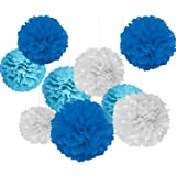 Party Propz Paper Pom Pom for Decoration 10 Inches Set of 9 Pcs (Light Blue, White & Dark Blue)