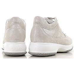 Hogan Interactive HXW00N00E30KAYB002 Zapatillas Deportivas para Mujer de Piel Color Gris y Plateado Plateado Size 38 5 EU