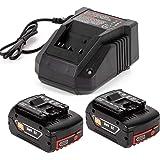 2X 18V 5.0Ah lithium reserveaccu met snellader 3A voor Bosch 18V BAT609 BAT609G BAT618 BAT618G BAT619 BAT619G BAT610G 2607336