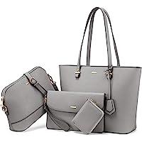 LOVEVOOK Handtasche Damen Shopper Schultertasche Umhängetasche Damen Groß Damen Tasche Gross Leder Handtasche 4-teiliges…