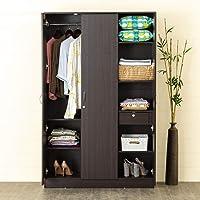 Home Centre Arvis Three Door Wardrobe - Walnut, (Model: HC-3142), 55.5 * 16.5 * 71 inches