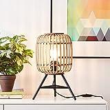 Nature Lampe de table décorative, fonctionne avec 1ampoule de culot E27 et de 40W maximum, en métal / rotin marron clair/no