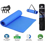 VIFITKIT Non Slip Yoga Mat with Shoulder Strap and Carrying Bag, High Density Yoga mats for Home, Gym & Outdoor Workout (Made in India)