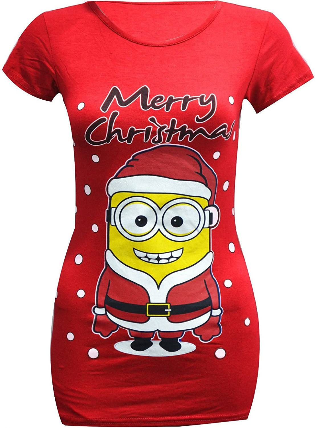 NEW WOMEN DESPICABLE ME 2 MINION CHRISTMAS T-SHIRT SLIM TIGHT FIT ...