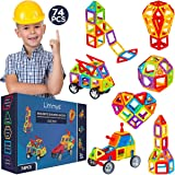 Limmys Jeu de Construction magnétique – Blocs aimantés pour garçons et Filles – Jouet éducatif STEM – Contient 74 Blocs magné