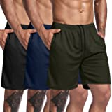 COOFANDY Men's 3 Pack Gym Workout Shorts Mesh Training Bodybuilding Jogger Weightlifting Squatting Pants with Pocket
