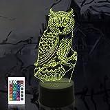 Kinderen uil bedlampje, Coopark World Owl 3D Illusion tafellamp, slaapkamer decoratie lampen afstandsbediening 16 kleur veran