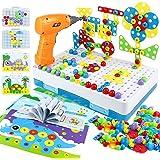 Mosaique Enfant Puzzle 3D Jeux Montessori Jeux de Construction Dinosaures Puzzle Bricolage Enfant Educatif 224PCS Jeux de Soc