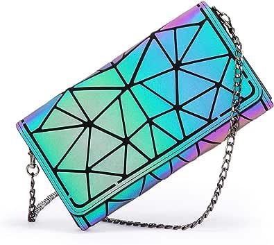 LOVEVOOK Geometrische Geldbörse Damen, Holographic Leuchtende Umhängetasche Wallet Tasche Geldbeutel mit Kettenriemen, Brieftasche Schultertasche, für 8 Karten, mit Reißverschluss