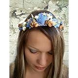 Blue Seashell crown, Beach wedding Hair Accessories