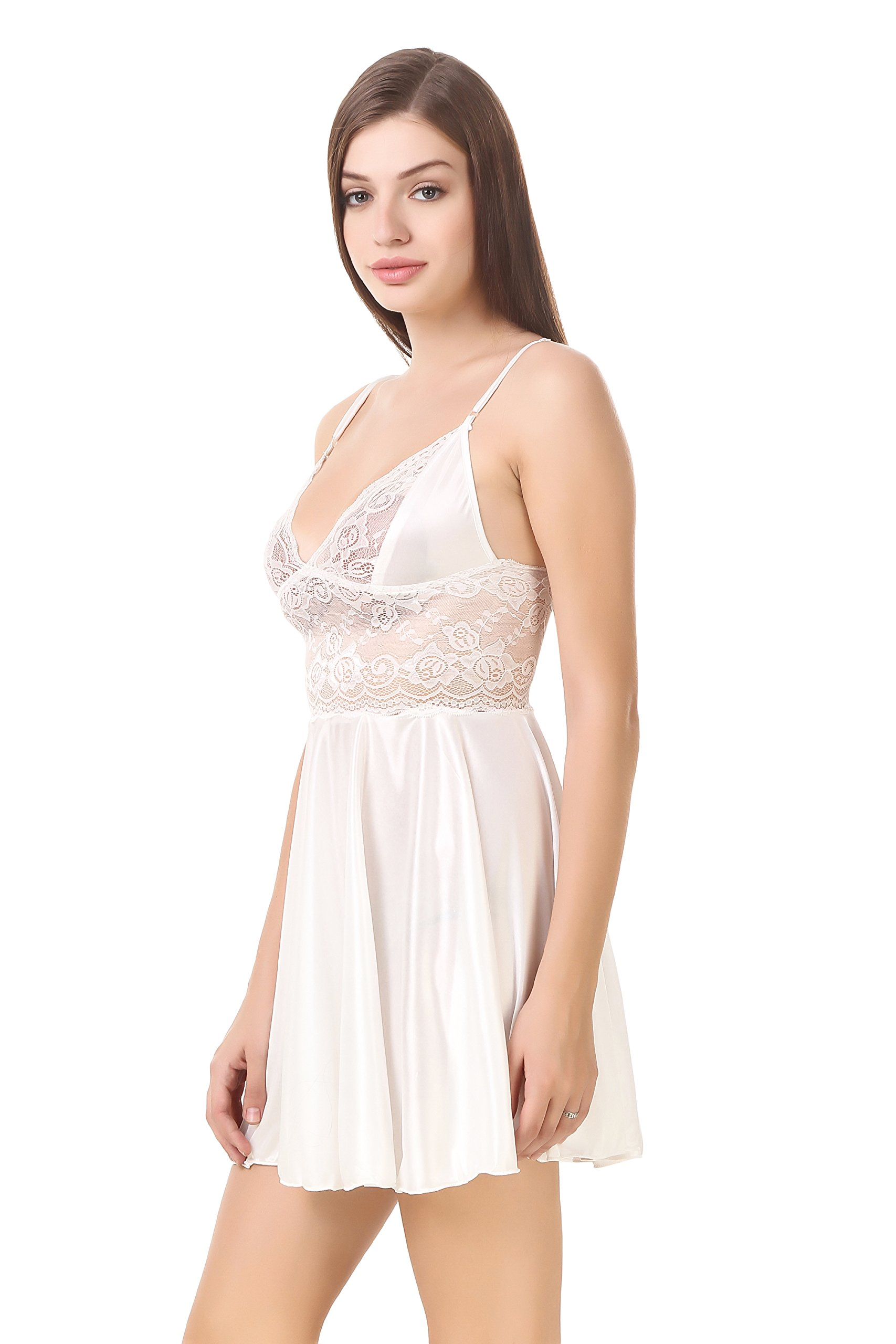 508b4f869 PHWOAR Women Satin Babydoll Night Dress Short Length Free Size