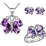 Uloveido, set di gioielli per anniversario di farfalla con ciondolo viola, collana e anelli, set da donna T235