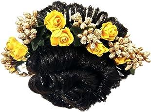 K&K KREATION Yellow and Golden Flower GAJRA Hair Band