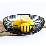 DMAR Metalen Fruit Bowls Zwart 11x3 in/28x7.5cm Ondiepe Fruit Mand Grote Draad Fruit Bowl Opslag voor Snack Brood Cake Tafel