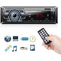 Autoradio Bluetooth Main Libre, Poste Radio Voiture, USB/SD/AUX/BT/Microphone, Voiture Stéréo Récepteur Lecteur MP3 Radio FM Horloge, Mains Libres avec Télécommande