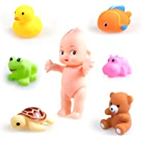 wishkey chu chu colorful squeeze bathtoy with baby & animals- set of 7 non toxic bpa free bathtub bathing toy- Multi…