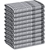 A & B TRADERS Wonderdry Tea Towels Kitchen Pack of 10, Cotton Absorbent Long Lasting Catering Cloths (Black)