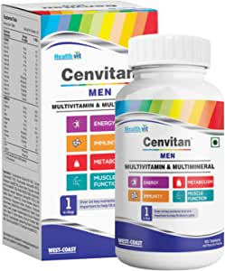 Healthvit Cenvitan Men Multivitamin & Multimineral with 24 Nutrients (Vitamins and Minerals) | Anti-Oxidants, Energy, Metabolism, Immunity and Muscle Function - 60 Tablets