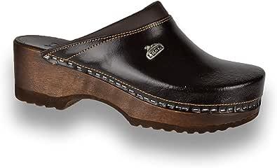 Leon B4 Zoccoli Sabot Pantofole Scarpe Pelle Donna
