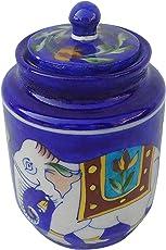 shriyam craft Ceramic Pickle Jar, 300 ml, Blue