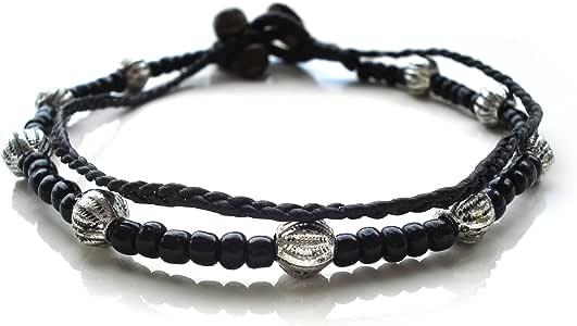 Idin Jewellery - Cordoncino di cera a doppia corda fatto a mano con cavigliera di perline color nero e argento