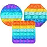 Bubble Sensory Fidget Toy Autism Special Needs Stress Reliever, Rainbow Pop Bubble Sensory Fidget Toy (3 PCS(Octagon/Round/Sq