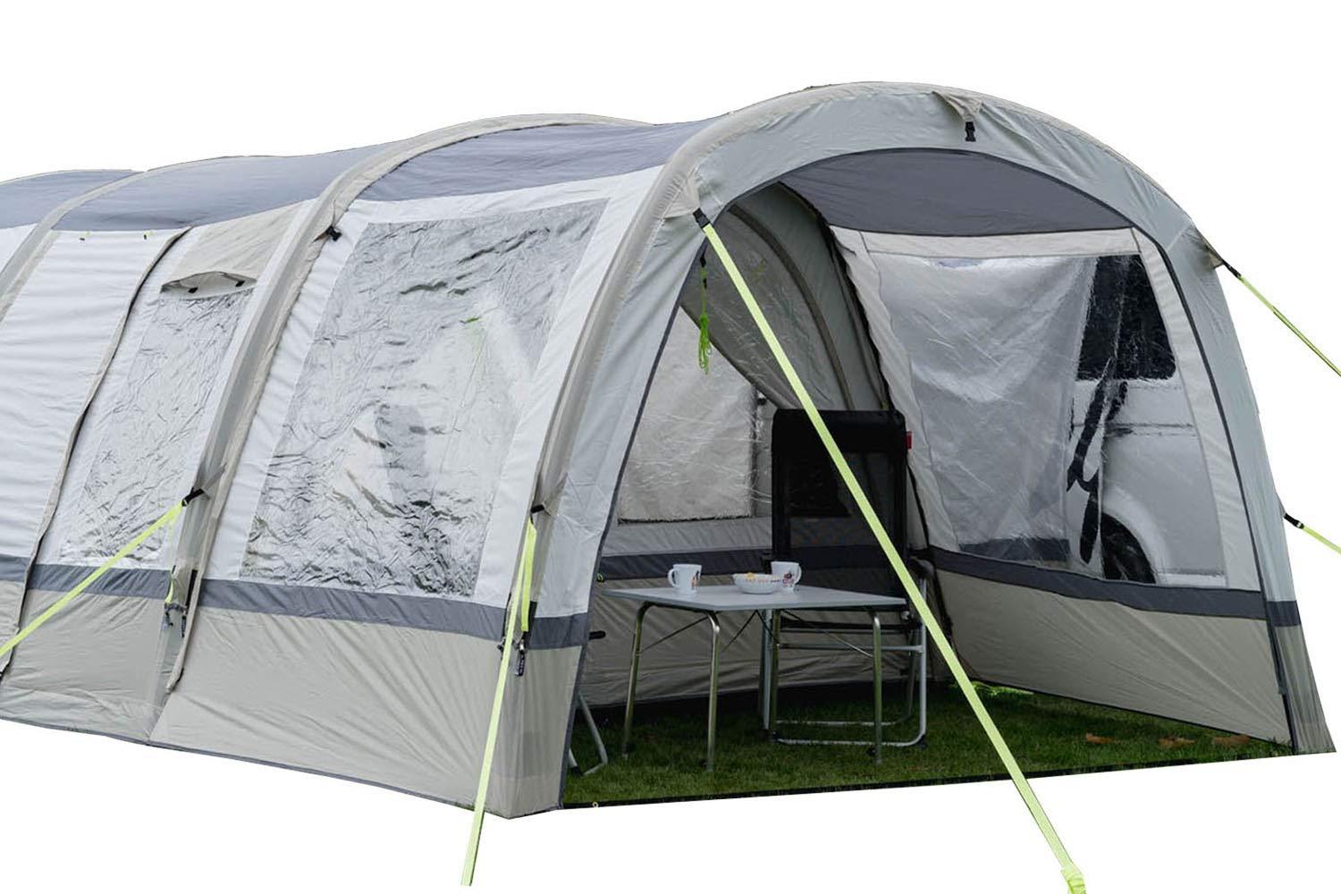 OLPRO Outdoor Leisure Products Cocoon Extension 3.5m x 1.8m Inflatable Drive Away Campervan Awning Porch Extension for Cocoon Breeze Sage Green & Chalk 1