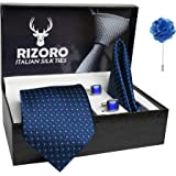 Rizoro Mens Plaid Dotted Silk Necktie Gift Set With Pocket Square Cufflinks & Brooch Pin Formal Tie With Leatherite Box (A13R