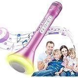Magicfun Microphones sans Fil Karaoké, 3 en 1 Haut-Parleur Bluetooth Micro Enfants avec Lumières LED, Portable Mini Famille K