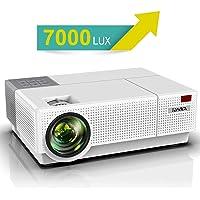 Vidéoprojecteur, YABER 7000 Lumens Video Projecteur Full HD 1080P (1920 x 1080) Retroprojecteur avec Correction Trapézoïdale 4D, Soutien 4K 90,000 Heures Projecteur LED pour Home Cinéma