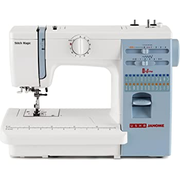 Usha Janome Automatic Stitch Magic Sewing Machine (White And Blue)