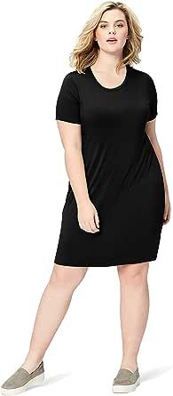 Marchio Amazon - Daily Ritual, abito in stile T-shirt, da donna, in jersey, con maniche corte, scollo rotondo, in jersey, per taglie forti