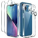 LK Coque pour iPhone 13 6.1 Pouces, 2 Verre Trempé Protection écran & 2 Caméra Protecteur, Souple Silicone TPU Bumper, Shock-