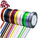 Netspower Ruban Satin 16 Couleurs, Ruban Ruban 22mm Ruban De Soie Cadeau Ruban Deco Ruban Mariage DIY, Cadeaux D…