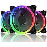 upHere 120mm Dynamique Couleur LED Ventilateur pour Boîtier D'Ordinateur Silencieux Pack Triple -F03CF