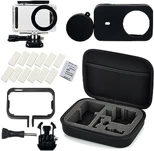 Flycoo Set di accessori per fotocamera Xiaomi mijia composto da 5 pezzi:Flycoo Astuccio-custodia impermeabile, telaio, cover in silicone, protezione anti-appannamento, alloggiamento per action camera Mijia 4K