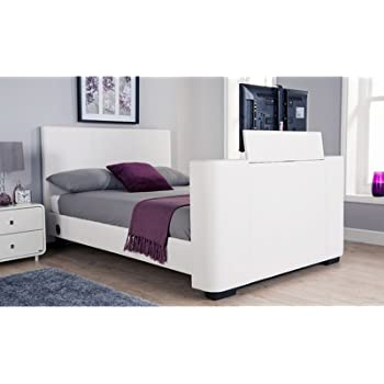 Newark 4ft6 Double Faux Leather Electric Tv Bed White Amazonco