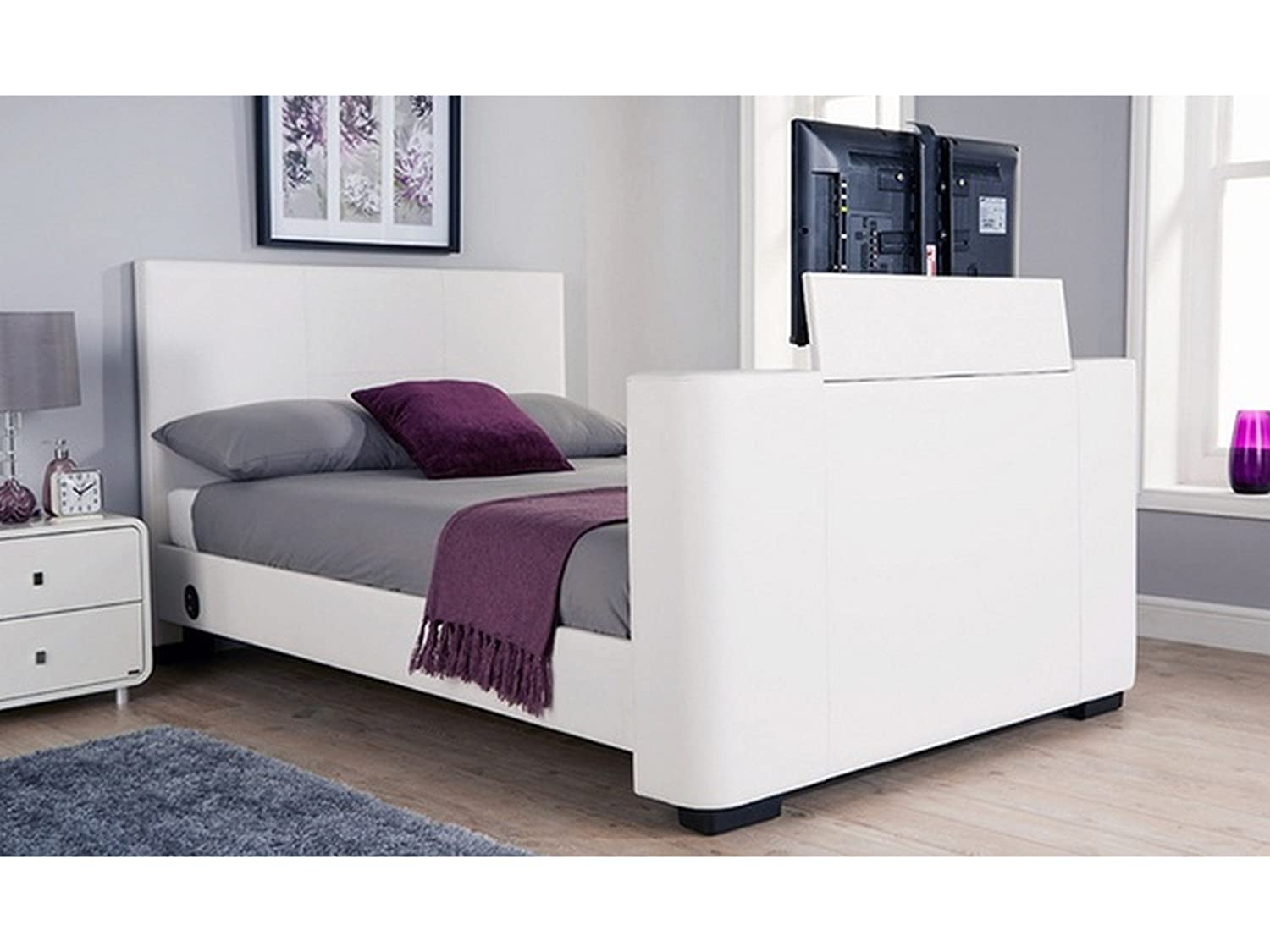 Newark 4ft6 Double Faux Leather Electric TV Bed - White: Amazon.co.uk:  Kitchen & Home