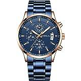 Montre Homme CRRJU Montres Bracelets Chronographe Sport Classique Montres en Acier Inoxydable, Automatique Date, 30M Etanche,