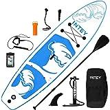 inty Uppblåsbart stativ upp paddle board ISUP surfbräda 6 tum tjock komplett uppsättning SUP-bräda, högtryckspump, paddel, ry