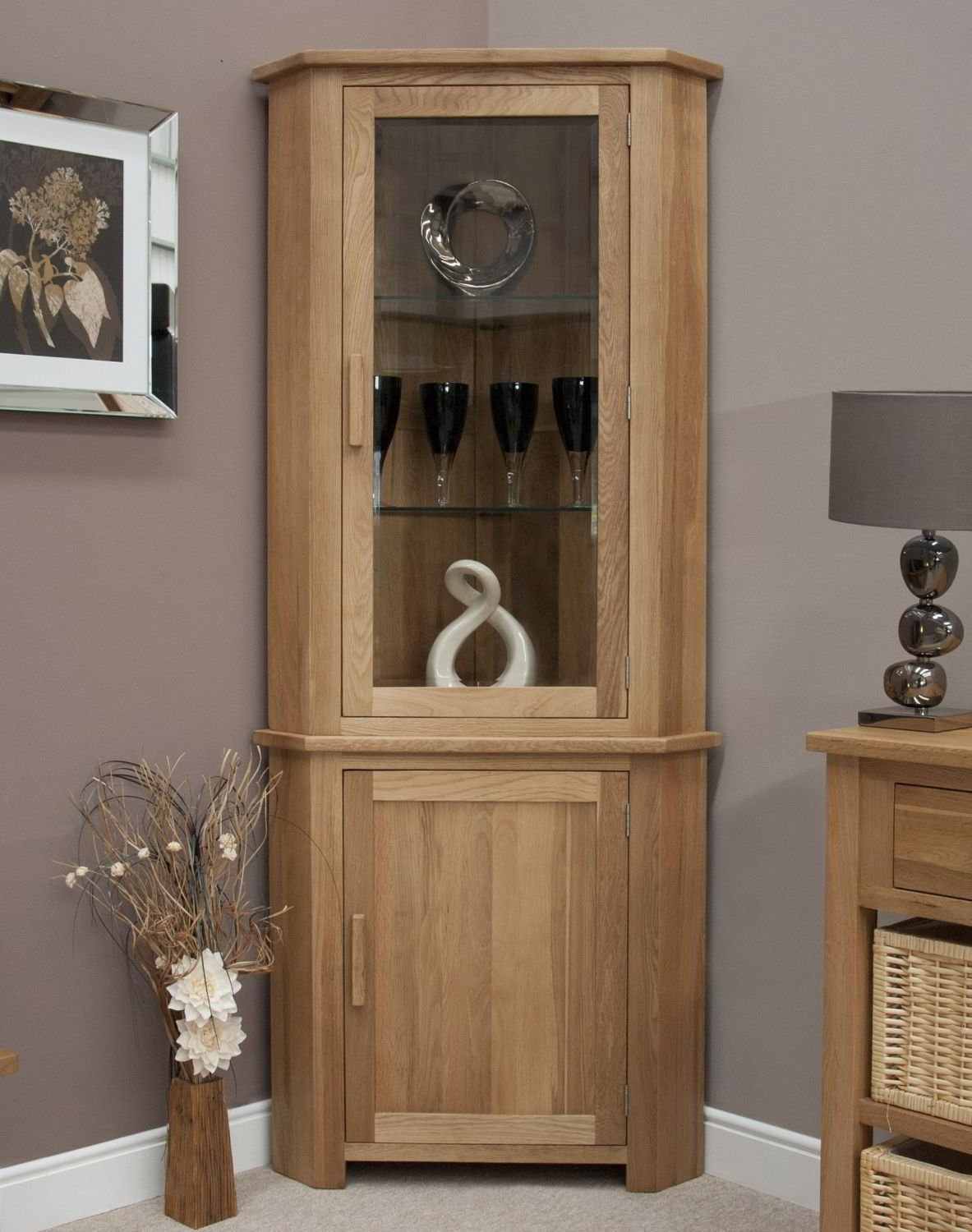 eton solid oak furniture corner display cabinet unit with lightamazoncouk kitchen  home. eton solid oak furniture corner display cabinet unit with light