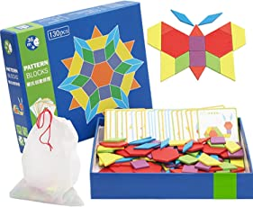 Wooden Pattern Blocks   Classic Educational Toy with 130 Geometric Shape Pieces and 24 Designs