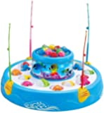 ELECTRECA Fish Catching Game Toy for Kids, Musical Rotating Fish Catching Game with 4 Rods Toy for Kids (26 Fishes…