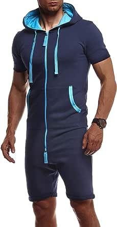 Leif Nelson Men's Short-Sleeved Jumpsuit Hood LN-8313